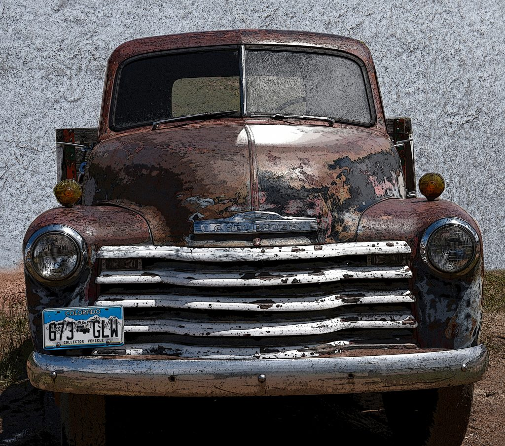 Brown pickup on the way to Victor Pass Co. 2