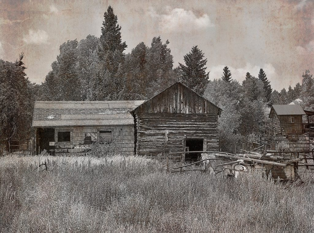 Old barn, WY. bw2