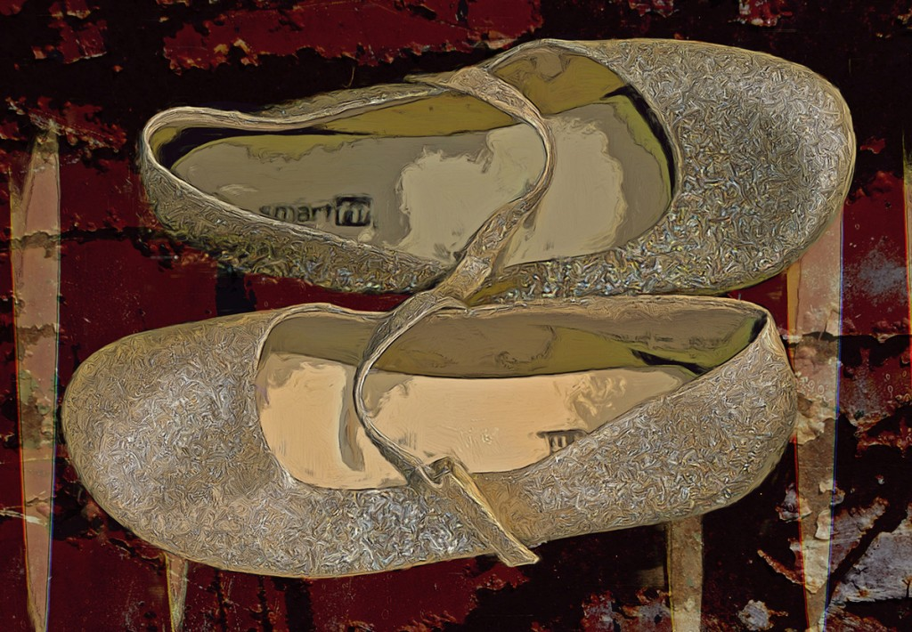 Golden sparkle ballet shoes (scan)